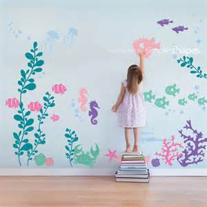 under the sea wall decal nursery decor by simple shapes large under water sea world full colour wall stickers for