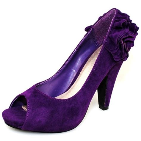 qupid purple velvet open toe womens high heel evening
