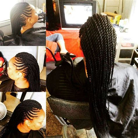 jlo braid inn middle of hair mohawk with ghana french braids and senegalese twist in