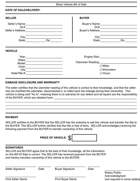 printable generic car bill of sale free kentucky generic bill of sale form download pdf word