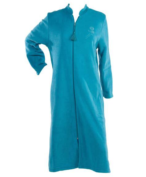Zip Up Coat dressing gown womens soft polar fleece floral detail zip
