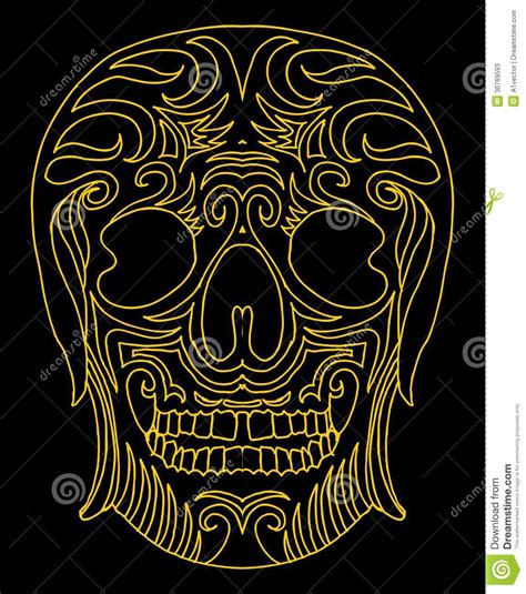 tattoo tribal mexican skull vector art stock vector