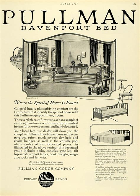 pullman couch company 1925 ad sleeper sofa pullman couch co davenport bed living
