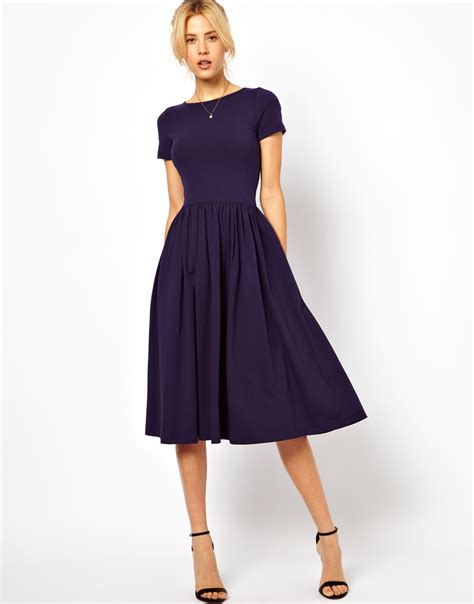 Midi Dress lyst asos midi dress with sleeves in blue