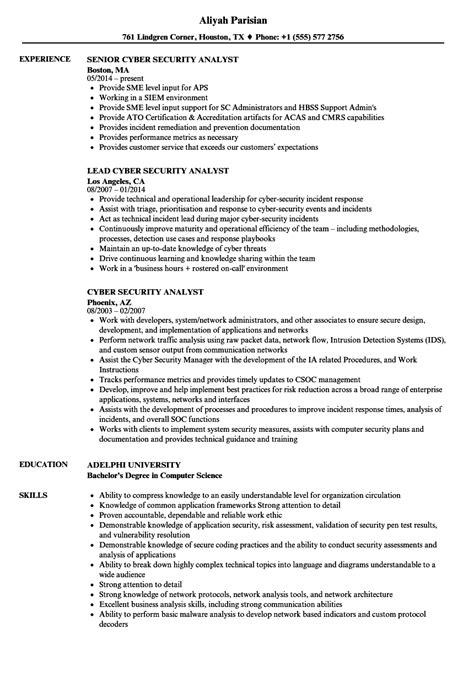 Security Analyst Resume by Cyber Security Analyst Resume Sles Velvet