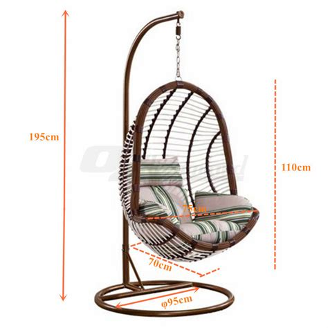 large outdoor wicker rattan free standing hanging egg pe rattan wicker hanging swing pod egg chair with stand