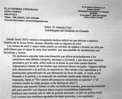 carta formal de la inseguridad inseguridad en los barrios de la zona norte de granada