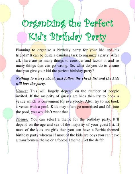 party planning tips for organizing children s birthday parties 8 steps to arranging the perfect kids birthday party