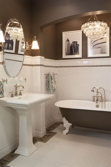 Tile Wainscoting Bathroom by Ceramic Subway Tile Wainscoting And Hex Mosaic Is Always A