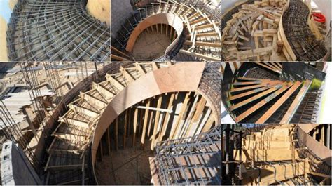 Studio Apartment Kitchen various type of formwork for curved concrete stairs