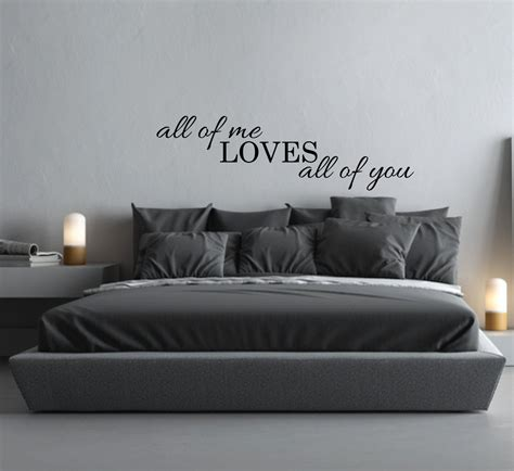 Bed Frame Wall Decal - above bed wall decal quote all of me all of you l