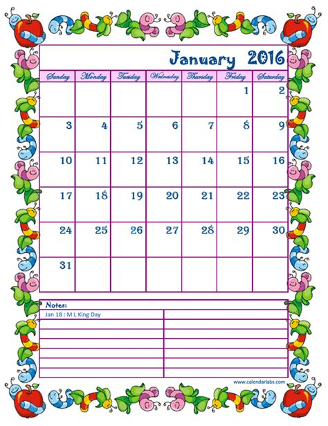 2016 monthly calendar kids free printable templates