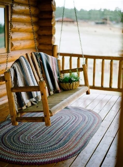 log cabin front porch swing log cabin love pinterest 35 swingin backyard swing ideas