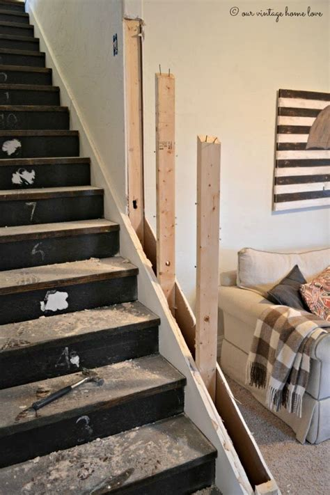 replace banister with half wall replacing stair rail with wall joy studio design gallery