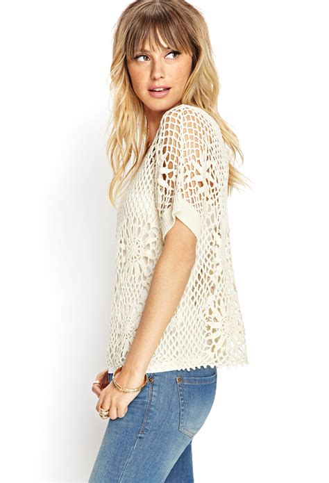 crochet knit top lyst forever 21 contemporary crochet lace knit top in white