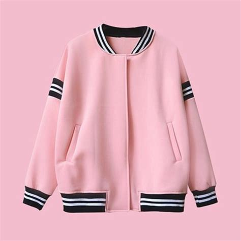 Jaket Pink jacket grunge kawaii college kawaii grunge baseball
