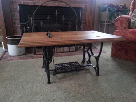 repurposed tredal sewing machine coffee table