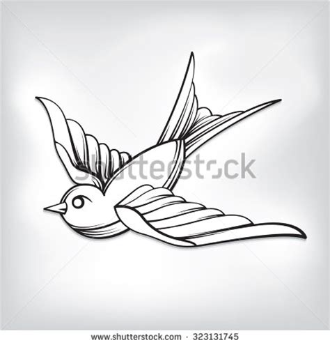 black and white swallow tattoo designs traditional sparrow outline www pixshark