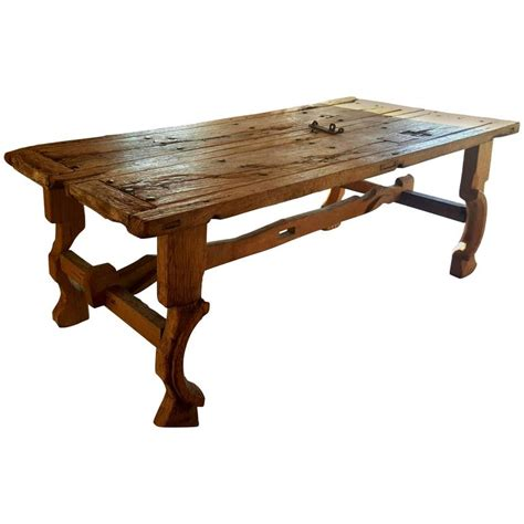 antique trestle table made from an 18th century church