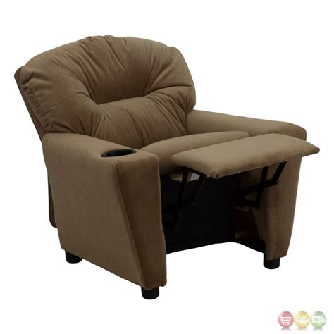 Cup Holder For Recliner by Brown Microfiber Recliner With Cup