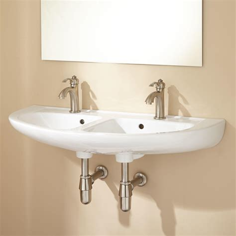 cassin double bowl wall mount bathroom sink