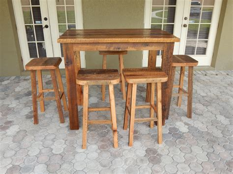 reclaimed wood bar height table carla s reclaimed lumber bar height table and matching
