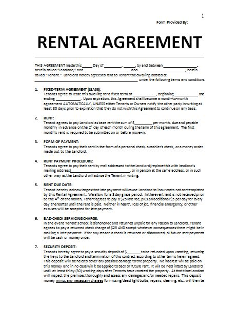 Rent Payment Agreement Template Inspiring Rental Agreement Sample With Form Of Payment And