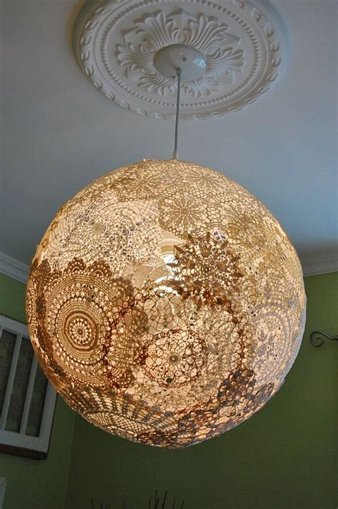shabby chic doily pendant light fixture globe chandelier neutral de