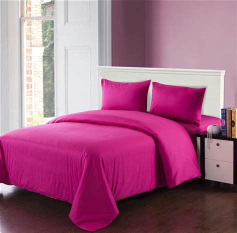 Double Bed Duvet Size Tache 3 To 4 Piece Cotton Solid Pink Reversible