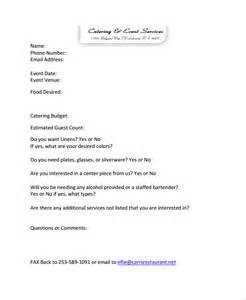 Catering Template Free by Sle Catering Quote 6 Documents In Pdf Word