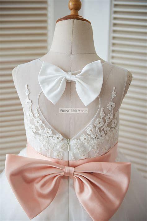 ivory lace tulle keyhole  flower girl dress  blush