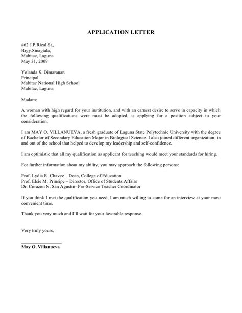 Application Letter For Fresh Graduate Hrm Writing Lab Application Letter Exles For Hrm
