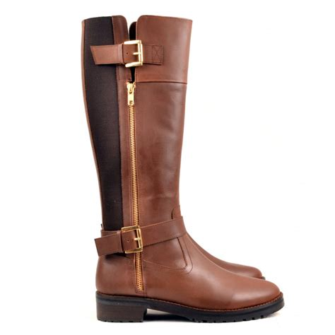 carlton leather knee high boot brown