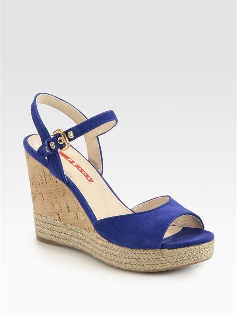 prada suede cork wedge sandals in blue lyst