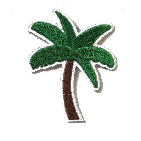 Iron Patch Bordir 2016 baru kedatangan 2 pcs pohon kelapa hijau bordir patch besi di motif kartun applique bordir