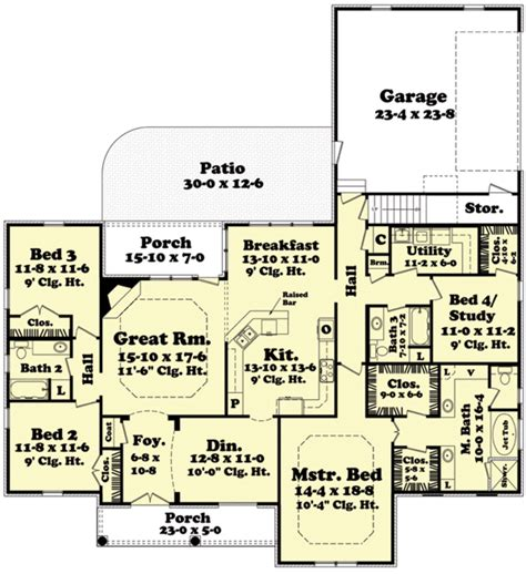 european style house plan 4 beds 3 baths 2400 sq ft plan