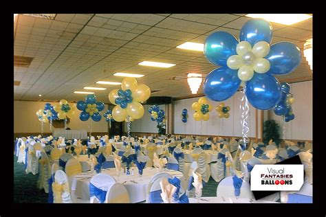 blue and yellow centerpieces balloon centerpieces visual fantasies balloons