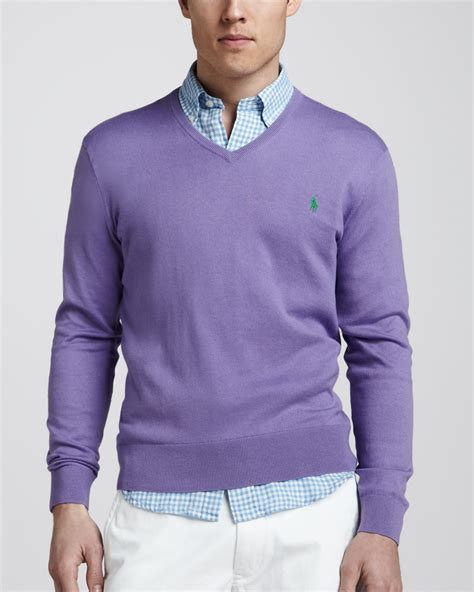 Jaket Sweater Polos Oblong Hoodie Jumper Hoodie Polos Sixe polo ralph vneck cottoncashmere sweater in purple for lyst