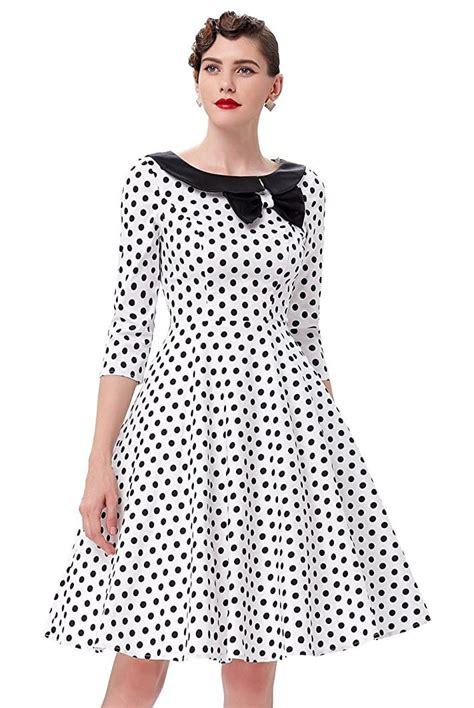 Dress 2 In 1 Dot White ellie white and black polka dot dress 1950sglam