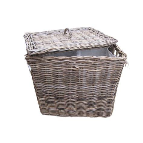 Grey Buff Rattan Rectangular Laundry Basket Laundry Wicker