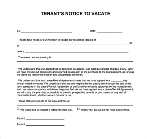 template for notice to vacate 24 free eviction notice templates excel pdf formats