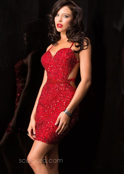 Get The Look Jessicas Sequin Mini Dress by Scala 48544 Scorching Fitted Sequin Mini Dress