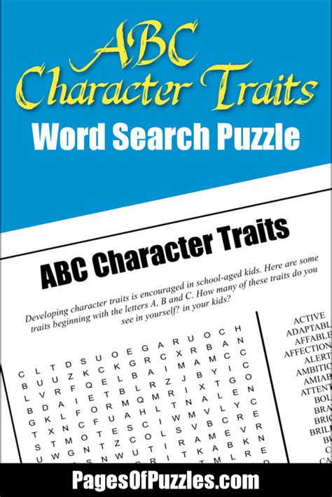 Abc Search Abc Character Traits Word Search Pages Of Puzzles