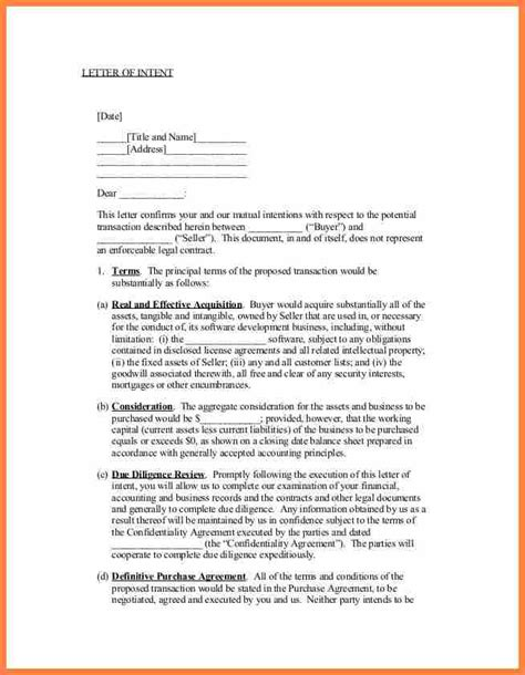 6 letter of intent to purchase a business template purchase agreement