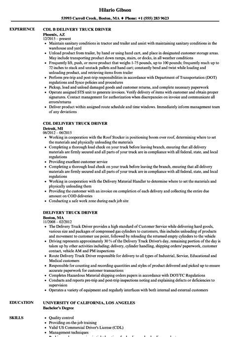 resume truck driver sle delivery truck driver resume sles velvet