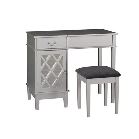 silver bedroom vanity linon lattice vanity set in silver finish 497352