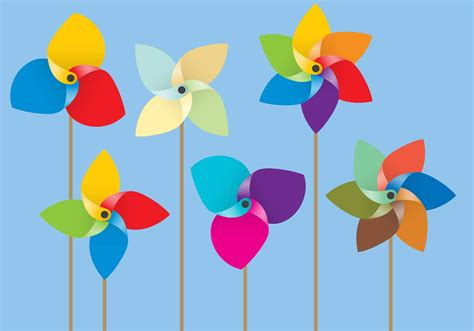 Paper Windmills - colorful paper windmill vectors free vector