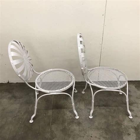 set of six sunburst back garden chairs by francois carr 233