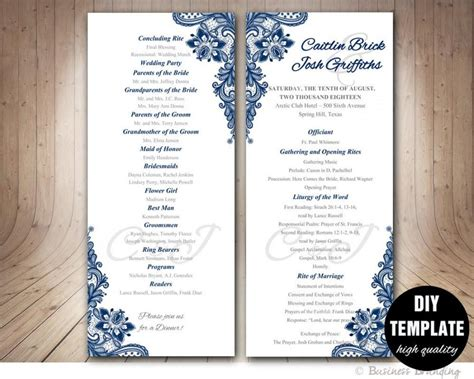 template for wedding program navy blue wedding program template instant