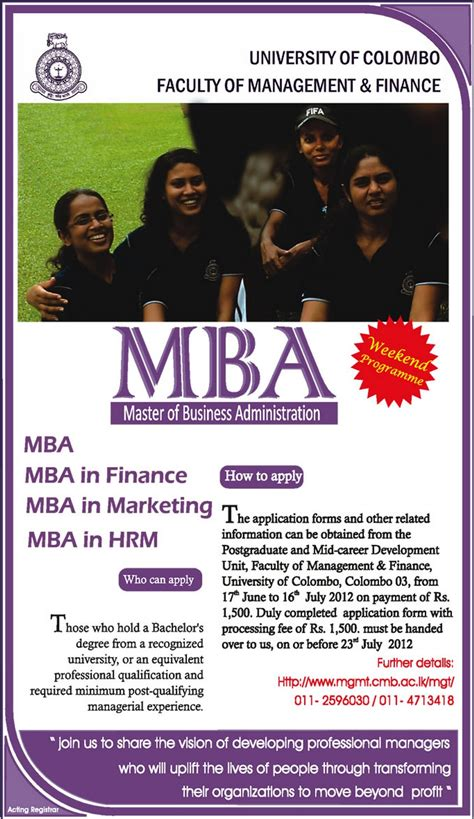 Of Colombo Mba Programme by Of Colombo Master Of Business Administration